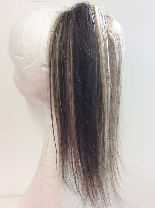 dark brown with h/lights 4/613 human hair 14 inches  long ponytail 45g