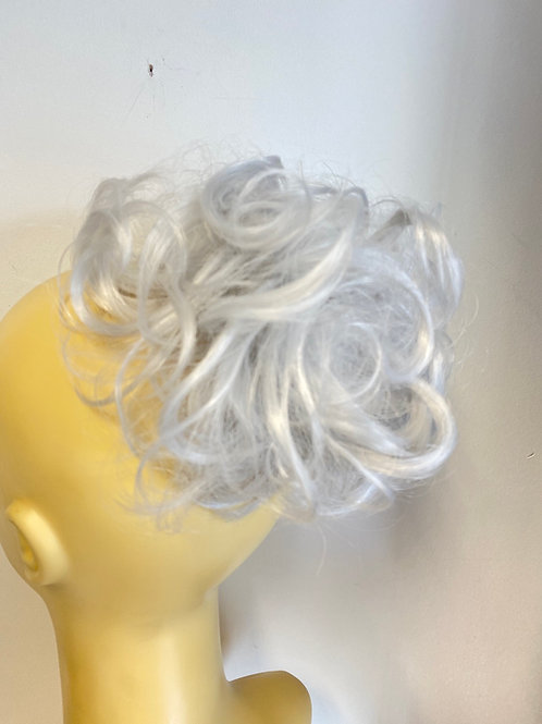 Silver synthetic curly hairpiece Scrunchie