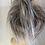 Thumbnail: Blonde mix with silver tips messy large hair Scrunchie tie ponytail