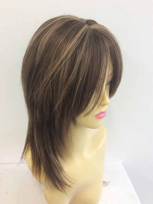 Brown with highlights (4/27) shoulder length 100% human hair