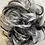 Thumbnail: Black and white synthetic hairpiece Scrunchie