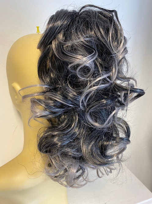 Clip on ponytail silver highlights synthetic with claw clip