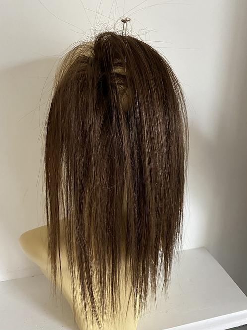 rich brown   (4) human hair blend hair Scrunchie 12 inches