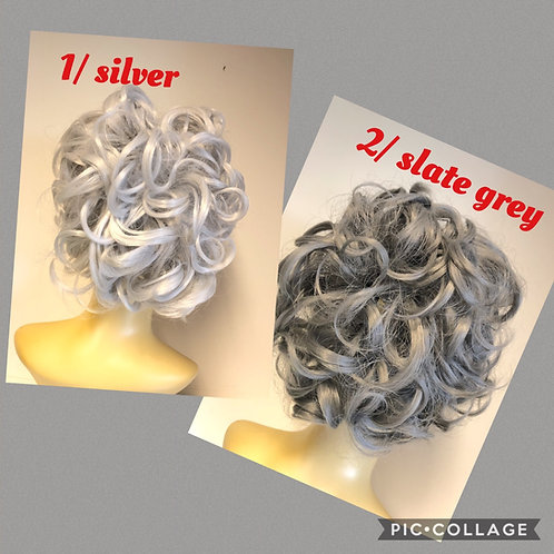 Grey curly synthetic hair hairpiece on comb