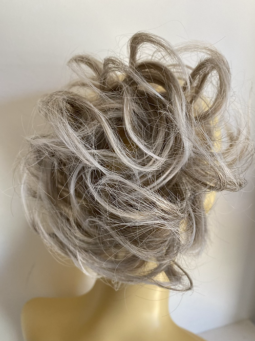 Blonde mix with silver tips  hair Scrunchie tie ponytail