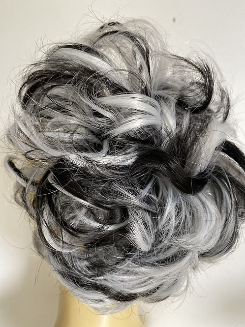 Black and white synthetic hairpiece Scrunchie