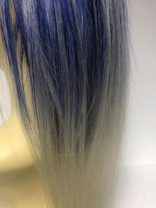 Bleach blonde and bright blue human hair Scrunchie 12 inches
