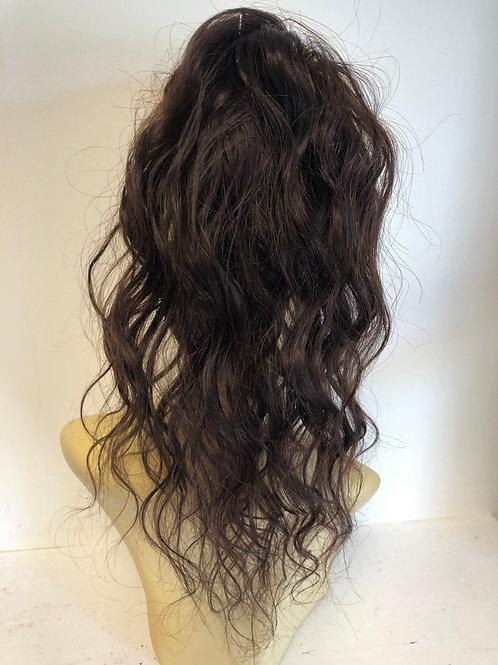 Rich brown 3 14 inch wavy human hair ponytail 38g