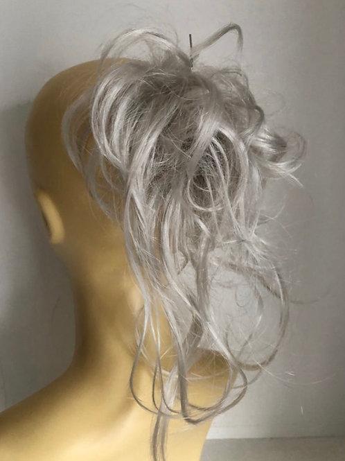 Light silver white Bounce synthetic medium hair scrunchie