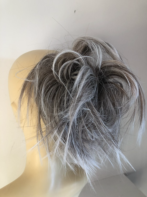 Blonde mix with silver tips messy large hair Scrunchie tie ponytail
