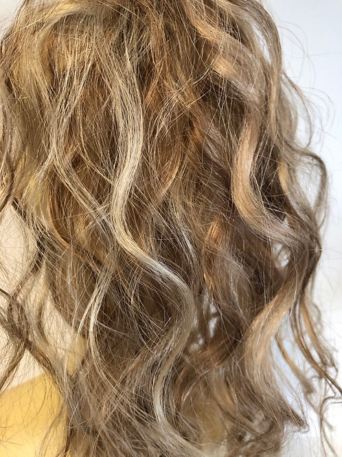Mixed blonde human hair Scrunchie ponytail 14 inches (6/16/613) 39g