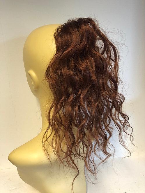Human hair Scrunchie ponytail reddish brown (33) 14 inch wavy 37g