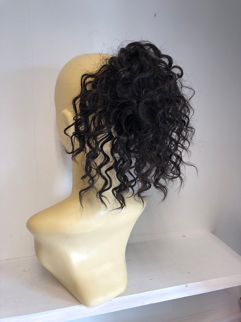 Darkest brown (2) Human hair blend in deep curl hair Scrunchie