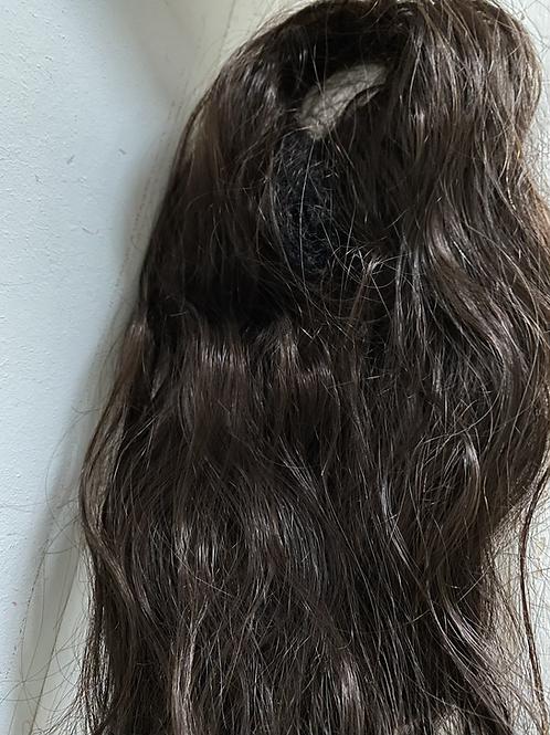 Dark brown (2) human hair blend 18 inches loose dody hair scrunchie