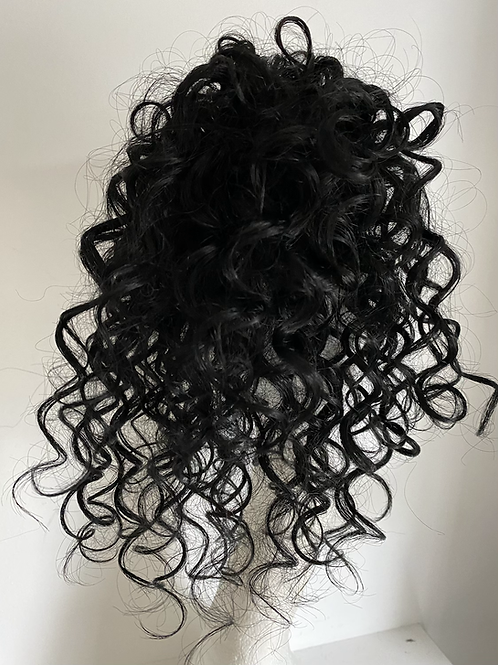 Black (1) water wave human hair blend 10inches very curly
