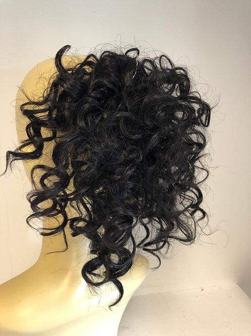 Black (1) human hair blend deep curl Scrunchie 8 inches