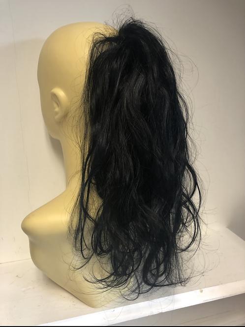 Black wavy human hair blend Scrunchie