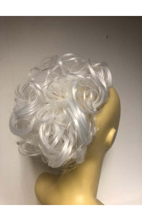 white curly hair synthetic Scrunchie