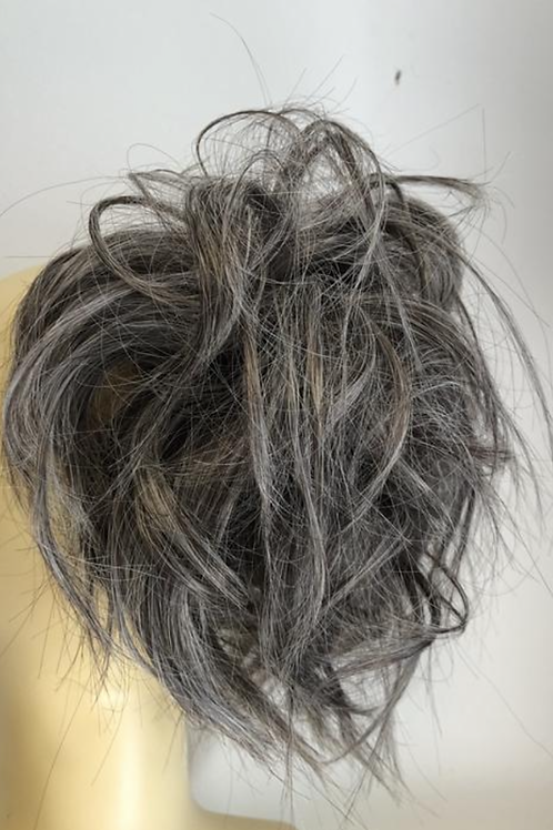 Large dirty grey brown  synthetic curly hairpiece Scrunchie