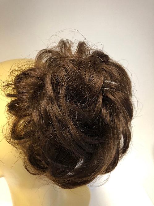 Medium brown human hair short Scrunchie