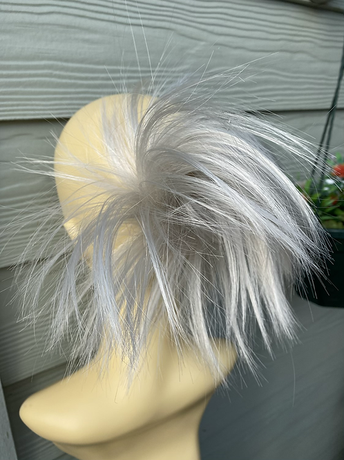Silver synthetic spiky small hairpiece Scrunchie be