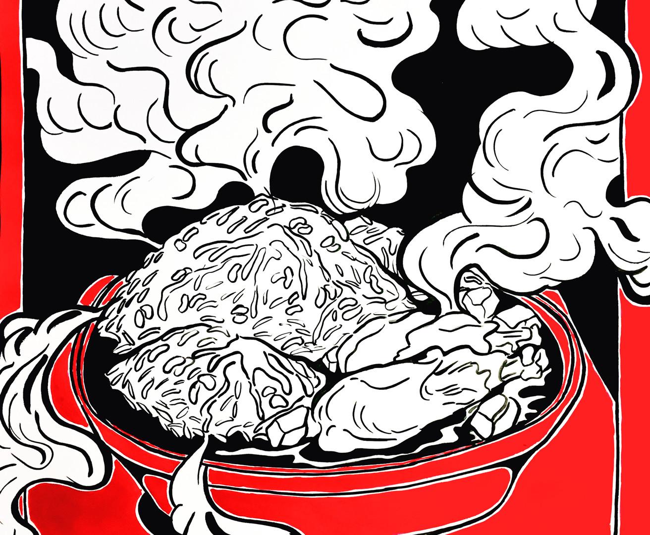 Arroz Con Gandules y Pollo Guisado
