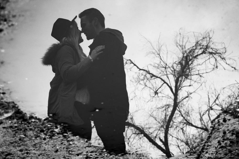 B&W Engagement Photo