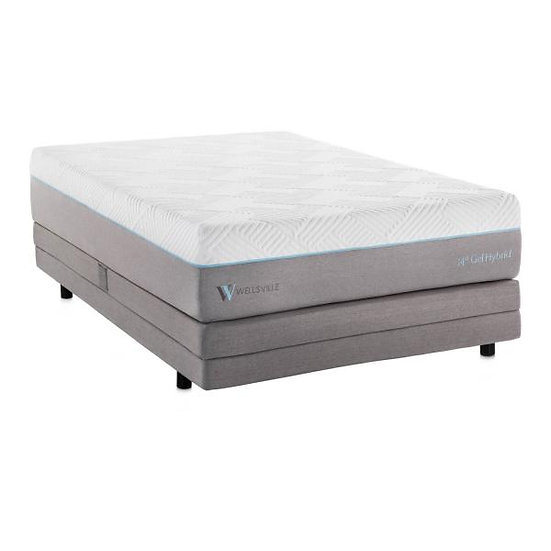 Split Queen Size WELLSVILLE 14 INCH GEL HYBRID MATTRESS Plus Adjustab