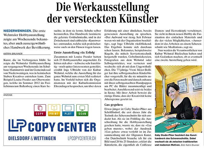 Pressebericht ZU 29.10.2013 Gaby Studer.