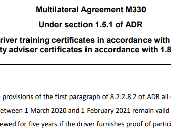 ADR (Dangerous Goods) Extension