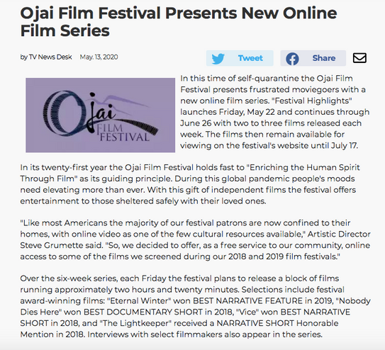 Ojai Film Festival Presents New Online Film Series