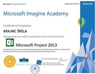 potrdilo Microsoft Imagine Academy