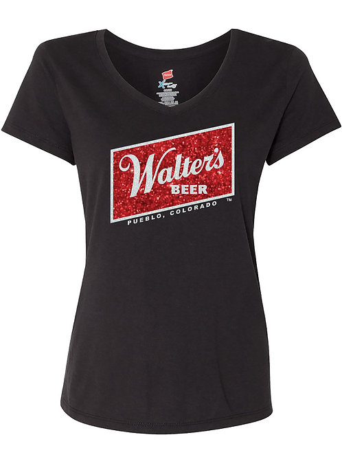 Ladies Glitter Logo V-neck shirt