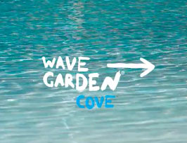 Wavegarden Cove Logo pointing to lagoon rendering at DSRT Surf