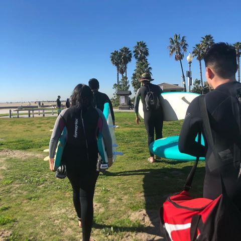 East Valley Board Riders heading to beach in Huntington Beach