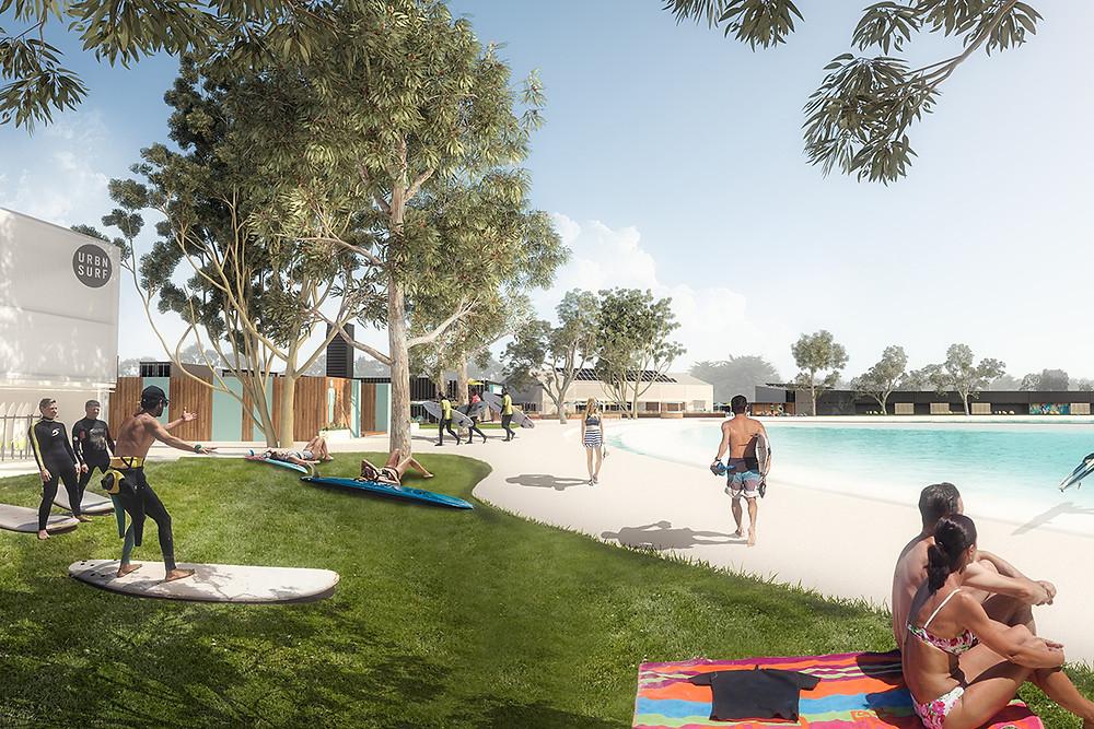 SURF Melbourne, artist concept of pool side