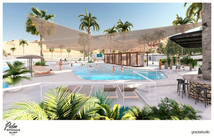 Conceptual Drawing of Palm Springs Surf Club Swimming Pool and Cabanas