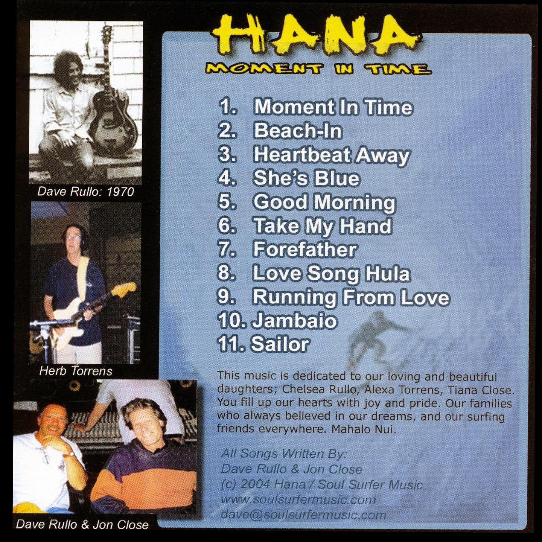 Hana, 'Moment in Time' CD Back Cover