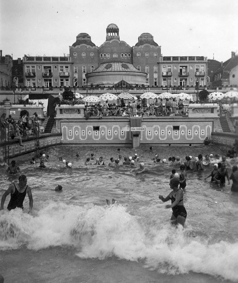 A 1936 photo of the wave pool Gellért Baths in Budapest, Hungary