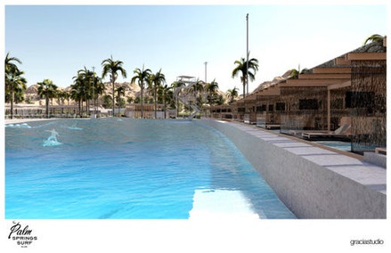 Artist Conception of Surfing Wave Pool at Palm Springs Surf Club
