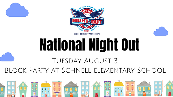 Tuesday August 3 Block Party at Schnell elementary School.png