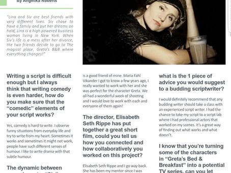 Winner: Best Original Screenplay- Angelika Roberts. An interview by the British Magazine FILM FOCUS