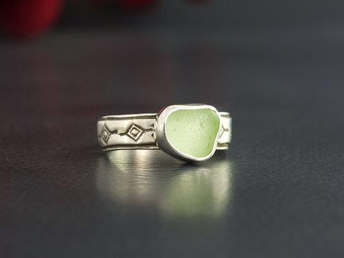 Sea Glass Silver Bezel Ring Sea Foam 5 1/2