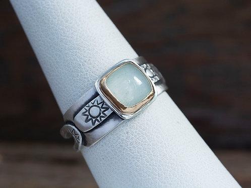 Aquamarine Cabochon Mixed Metal Ring Sz 6.5