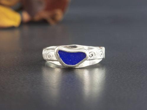 Sea Glass Silver Ring Cobalt Sz 10 1/2