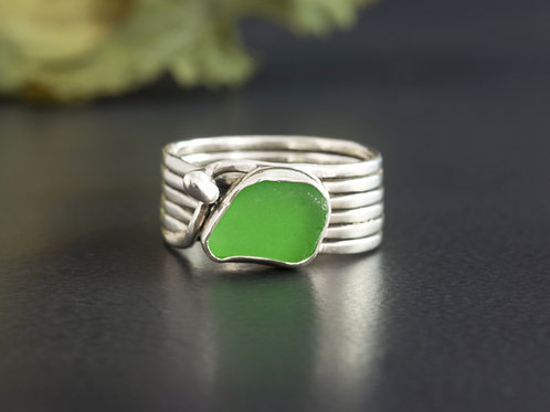 Sea Glass Silver Ring Green 8 1/2