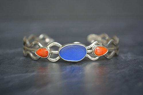 Cobalt Sea Glass 3 Wire Cuff with Sponge Coral