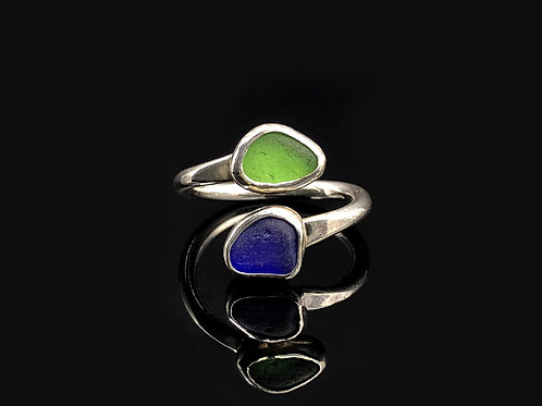 Cobalt and Green Wrap Ring