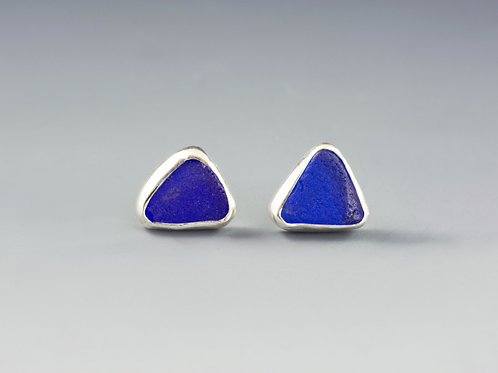 Cobalt Blue Sea Glass Silver Stud Earrings