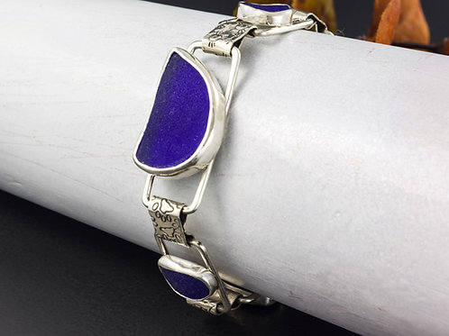 Sea Glass Silver Bracelet Cobalt Sz Lg